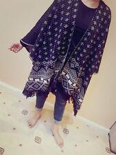 Ladies Reversible Women Fashion Acrylic Aztec Cape Blanket Wrap Poncho Shawl UK