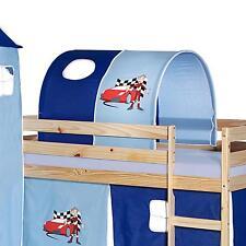 Tunnel tente pour lit surélevé mi-hauteur tissu coton motif auto bleu