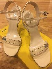 NIB 100% Authentic FENDI Selleria Beige Leather Heels Sandals EU 40.5