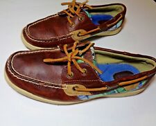 Mint Sperry size 8M Boat Shoes  Leather Plaid Top Sider Shoes slip-on moccasins