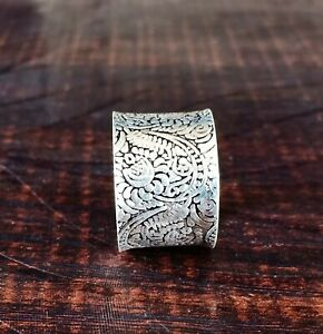 925 Sterling Silver Meditation Wide Band Statement Anxiety Ring Jewelry ST03