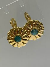 18ct 18k Yellow Gold Natural Blue Topaz Hook Earrings. Brand New