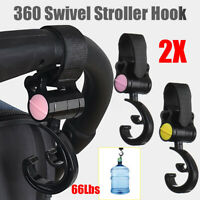 2pc Baby Stroller Hanger Bag Hooks Pram Cart Hook Accessories 360 Rotate 30Kg