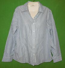 Chico's 2 long sleeve cotton blend size L 2 striped button down blouse no-iron