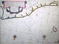 Kupferstich, Seekarte Pommern, W.J. Blaeu,1623, Bornholm, Polen, Zeespiegel,rare