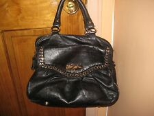Vintage BETSEY JOHNSON Bag Black Leather Gold Chainlink Satchel-GREAT CONDITION