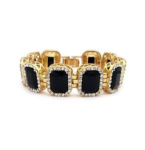 MENS ONYX BLACK DIAMOND GOLD FINISHED RUBY BRACELET HIP HOP RAPPERS ICEY