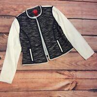 V Cristina Vegan Leather Blazer Jacket Size S Blue White