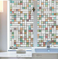 Colour Grid Window Film Print Sticker Cling Stained Glass UV Block Gift Decor