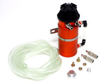 VMS ALUMINUM OIL RESERVOIR CATCH CAN TANK WITH BREATHER FILTER BAFFLED ORANGE