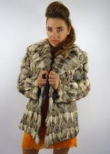 De Colección Chaqueta de Abrigo de piel de conejo Luxe Gris Plata M