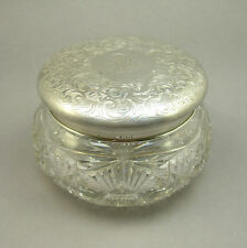 Vintage or Antique Gorham Sterling Silver Cut Glass Powder Dresser Jar Box