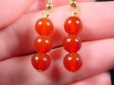 (EE-447-F) Orange CARNELIAN three bead gemstone stone dangle hook earrings gold