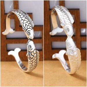 925 Pure Silver Bangle Kiss Fish Tibetan Buddhism Bracelet Yoga Pulseiras Women