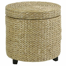 Round Storage Ottoman Stool/side Table Seat Woven Wicker Rattan Style Furniture1