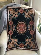Vtg Completed Abstract Flowers Needlepoint Finished Tapestry Rug Carpet Small