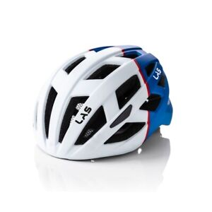Las Enigma Bicycle Helmet Matt White/BLUE | L/XL 58-61 cm | Removeable Visor