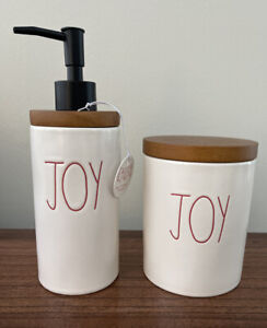 Rae Dunn JOY Soap Dispenser and JOY Container New