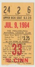 "PHILADELPHIA PHILLIES ""PHOLD"" TICKET STUB VS. CINCINNATI REDS JULY 9, 1964"