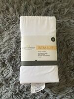Threshold White XL Twin Flat Sheet 300 Thread Count 100% Cotton - New