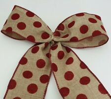 Christmas Ribbon Deep Red Spots Wired Hessin Width 60mm