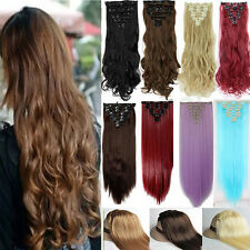 Curly Wavy Straight 100% Natrual Piece Clip in HAIR EXTENTION Real Full head B03