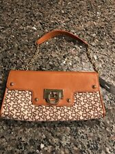 DKNY Canvas & Leather T&C W/D Hardware Chino-Henna Shoulder Bag Clutch $145 NWT