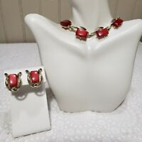 Vtg Leru Necklace Clip On Earrings Set Gold Tone Red Iridescent Lucite Signed