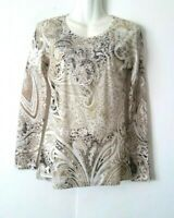 WOMEN'S REBA EMBELLISHED WITH RHINESTONES PAISLEY FLORAL LONG BLING TOP SIZE S