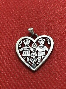James Avery Retired Boy Girl Kids Love Is Heart Charm Pendant