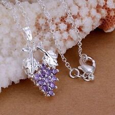 925 Sterling Silver Purple Zircon Grape Bunch Pendant & Necklace/20 inch Chain