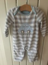 Baby Boy's Clothes 0-3 Months - Car Theme Velour Striped One-Piece Outfit/Romper