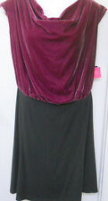 New Liz Claiborne Dress 24W Plus Size Sleeveless Black Purple Velvet Spandex