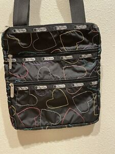 "LeSportSac triple zip crossbody tote, black with hearts 9x11"""