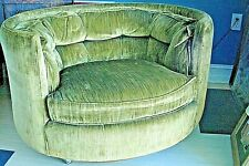 Vintage Mid Modern Hollywood Low Barrel Green Chair by Flair Division Bernhardt