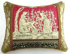 """Scalamandre fabric, """"The Wine growers"""" Toile Designer accent Pillow"""