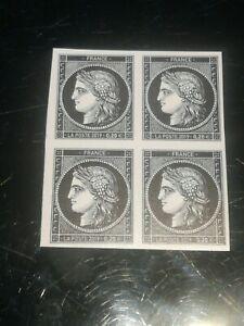 Bloc de 4 timbres 170 ans du type Cérès à 0.20 € non dentelés