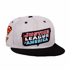 JUSTICE LEAGUE RETRO LOGO WITH CLASSIC SUPERHERO SYMBOLS ALL OVER GREY SNAPBACK