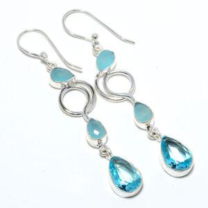 """Blue Topaz & Chalcedony 925 Sterling Silver Earring Jewelry 2.54"""" F2553"""