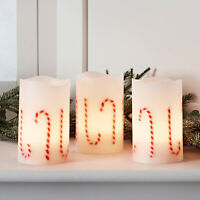 Set of 3 Battery Operated LED Flameless Christmas Candy Cane Pillar Candles