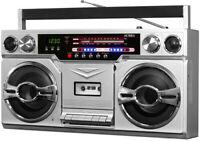 Victrola VBB-10-SLV RETRO BOOMBOX Bluetooth Wireless Cassette AM/FM (Silver)
