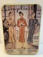 Simplicity Vintage Ladies Fashion Forecast For 1936 Tin Box Pink In Color EMPTY