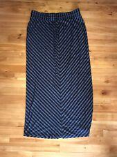 Navy blue Chevron Ann Taylor Loft maxi skirt navy blue slit Medium Drawstring