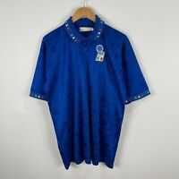 VINTAGE Diadora Italy Football Soccer Jersey Mens XL Blue Short Sleeve 1990s