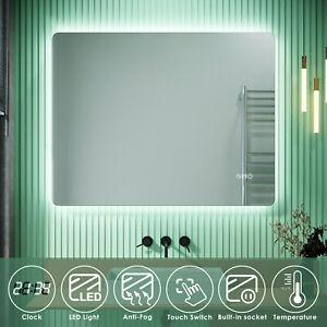Illuminated Bathroom Mirror with Shaver Socket LED Light Clock/Temperature Touch