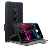 PU Leather Wallet Low Profile Case Cover Black For Sony Xperia XZ2