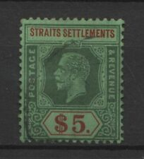Straits Settlements KGV $5 Green & Red on Green Value Used