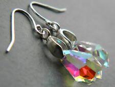 Vintage Aurora Borealis AB Faceted Crystal Tear Drops & Sterling Silver Earrings