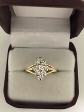 Estate 14k Yellow Gold 1ct Diamond Cocktail Waterfall Cluster Ring Size 9.75