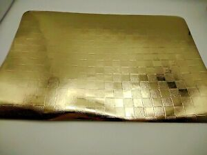 6 Piece Set 12 x 18 Decorative Solid Shiny Gold Checkered Placemats   #placemats
